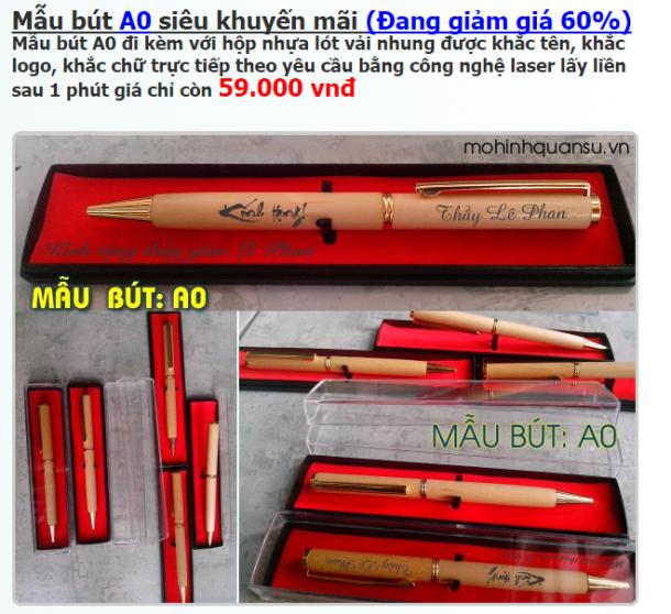 Bút gỗ khắc tên giá rẻ mẫu số A0