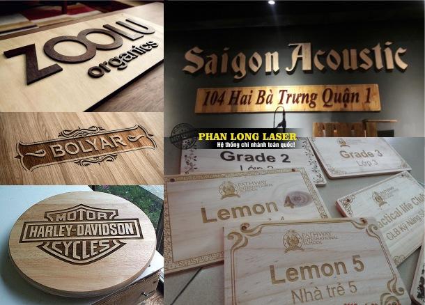 Làm Biển Quảng cáo gỗ khắc laser, làm bảng quảng cáo chữ gỗ nổi tại Sài Gòn và Hà Nội