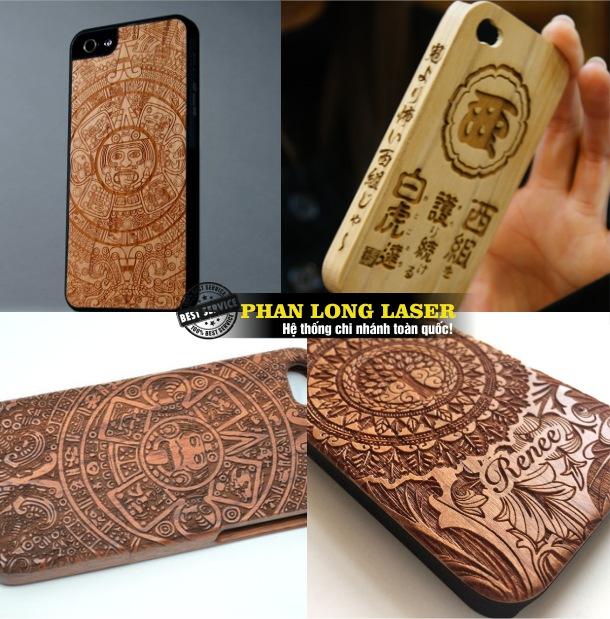 Khắc hoa văn, khắc logo, khắc hình ảnh chân dung lên vỏ điện thoại gỗ tại Hà Nội