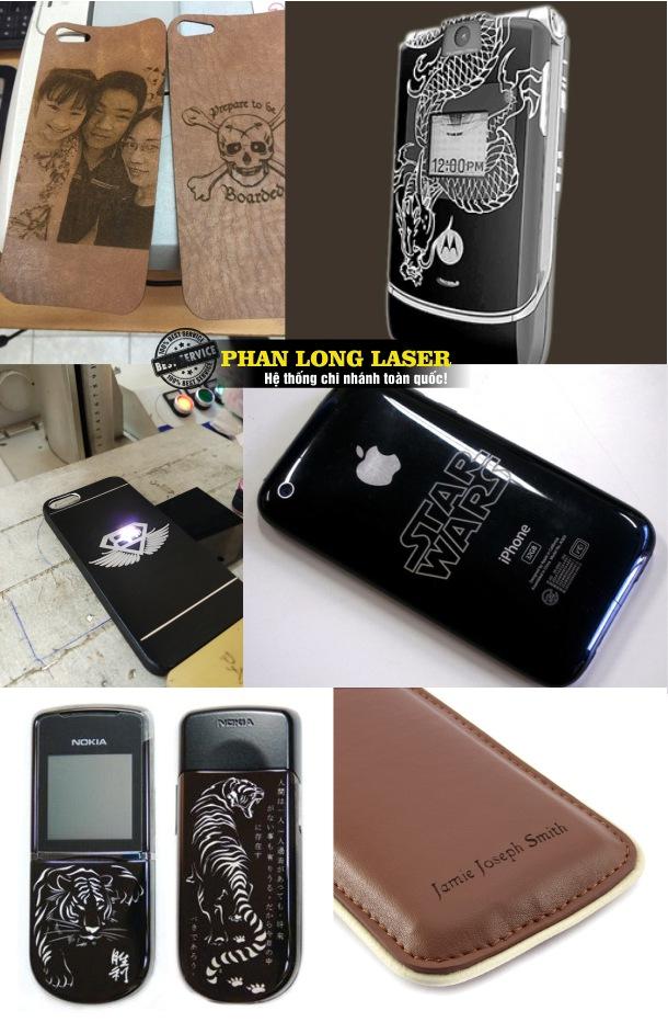 Khắc chữ, khắc tên, khắc chân dung, khắc hình ảnh hoa văn logo lên bao da điện thoại và vỏ điện thoại nhựa ở Hà Nội