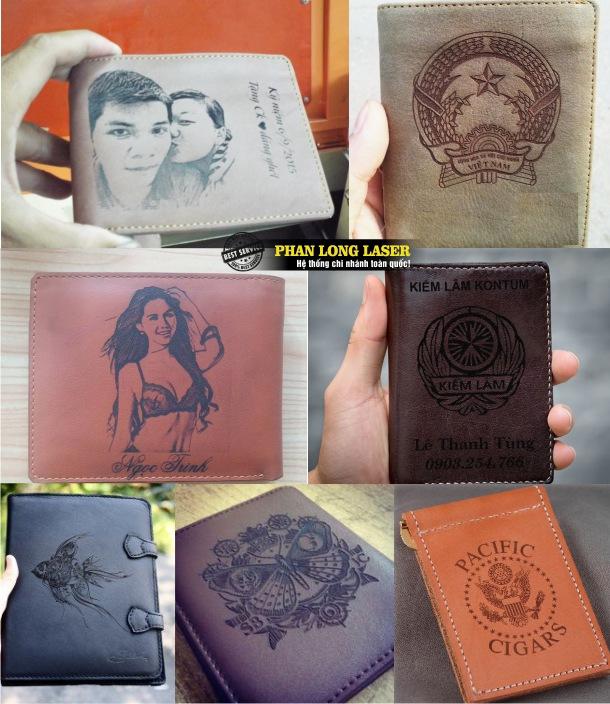Sử dụng máy khắc laser có thể dễ dàng khắc chân dung hình ảnh, khắc logo lên ví da giá rẻ