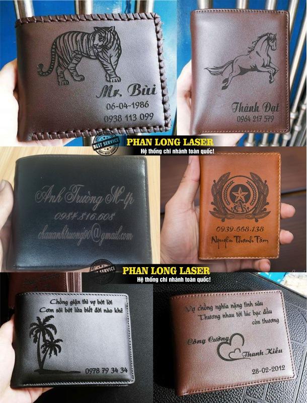 Cửa hàng khắc ví da theo yêu cầu, khắc logo khắc hoa văn, khắc chữ khắc tên lên ví da lấy ngay lấy liền giá rẻ