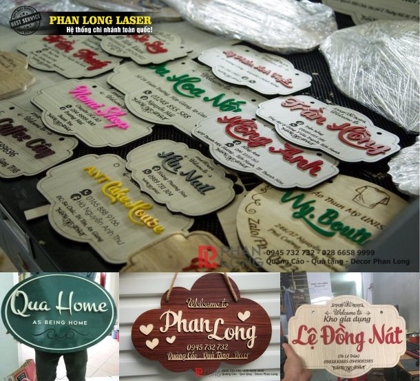 Làm bảng hiệu biển hiệu quảng cáo bằng gỗ cỡ nhỏ mini cho shop, cho tiệm, cho cửa hàng theo yêu cầu