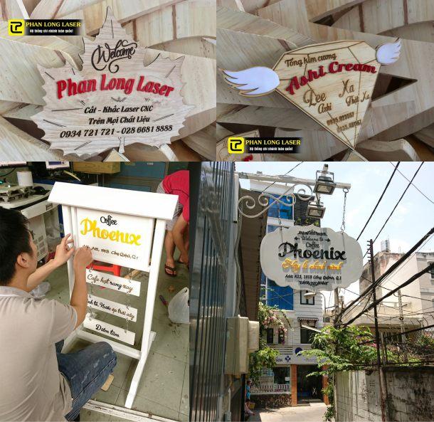 Địa chỉ cơ sở chuyên nhận làm biển bảng gỗ treo tường, biển gỗ quảng cáo cho shop, cửa tiệm, cửa hàng, quán cafe, nhà hàng, quán ăn