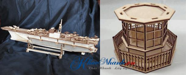 Nhận cắt laser tạo mô hình tàu sân bay và tháp không lưu