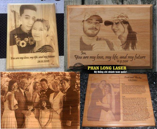 Xưởng gia công sản xuất nhận làm ảnh cưới bằng gỗ, mica khắc laser theo yêu cầu lấy liền giá rẻ