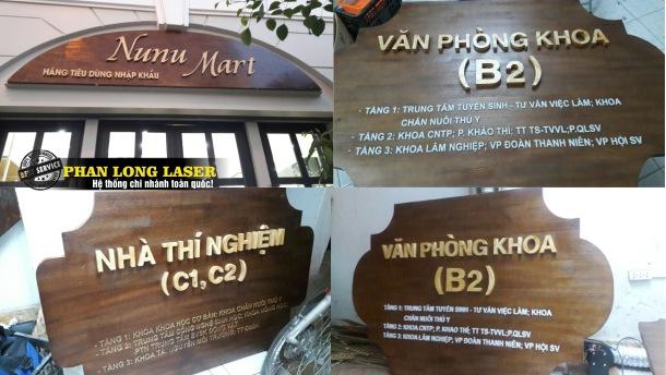 Cắt chữ gỗ làm biển quảng cáo văn phòng, biển quảng cáo công ty giá rẻ ở Hà Nội