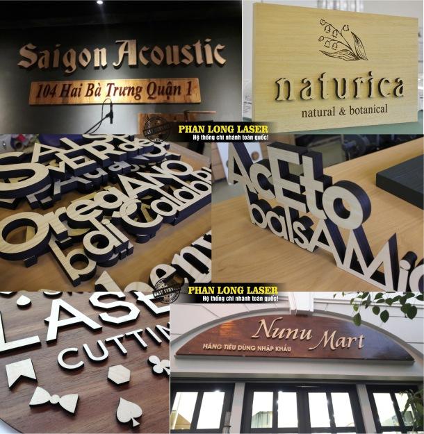 Cắt chữ gỗ theo yêu cầu làm biển bảng quảng cáo tại Xưởng Phan Long Laser