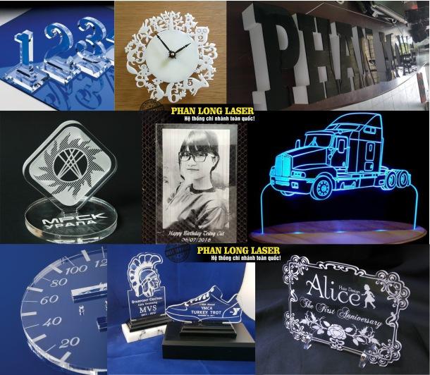 Khắc ảnh lên mica, khắc hoa văn logo theo yêu cầu lên mica tại Xưởng Phan Long