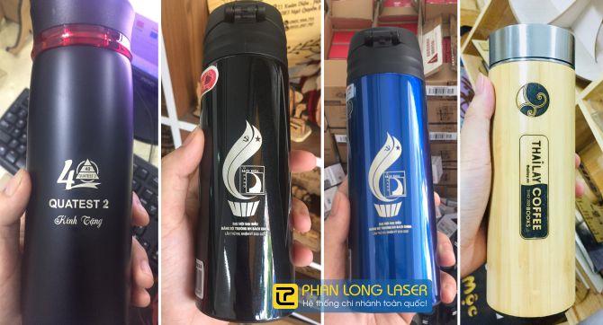 Khắc laser lên bình giữ nhiệt cho khách hàng tại Đà Nẵng và Hà Nội