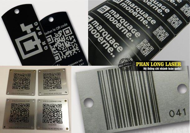 Xưởng khắc mã vạch, khắc mã QR code lên Kim Loại, Đồng Nhôm, Sắt Thép, gỗ nhựa mica giá rẻ