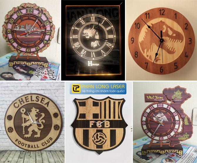 In Khắc Laser cnc lên quà tặng đồng hồ gỗ và đồng hồ mica lấy liền