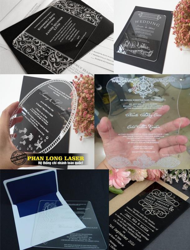 Sản xuất và làm thiệp cưới mica khắc laser theo yêu cầu giá rẻ