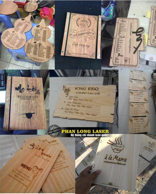 Sản xuất menu gỗ, khắc laser lên menu gỗ giá rẻ ở Hà Nội