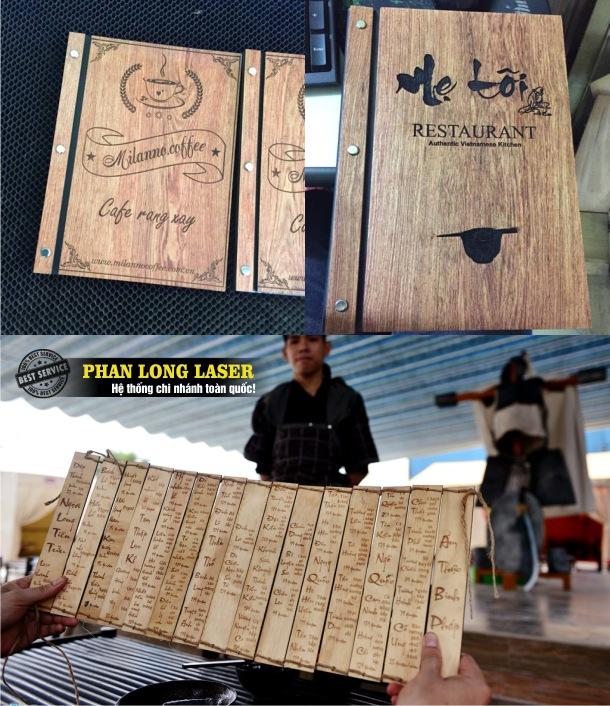 Sản phẩm menu bằng gỗ được khắc thư pháp rất ấn tượng và đẹp mắt
