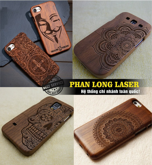 Khắc laser lên vỏ điện thoại gỗ theo yêu cầu tại Tp Hồ Chí Minh, Hà Nội, Đà Nẵng, Cần Thơ