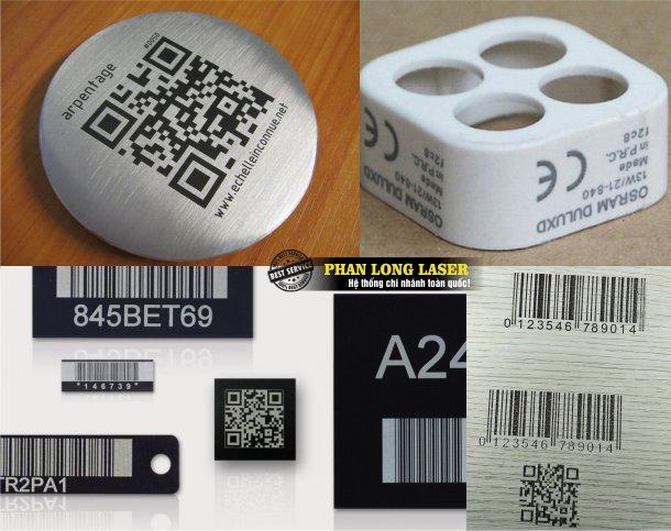 Trong hình là một số hình ảnh về các sản phẩm kim loại inox, gỗ, nhựa mica được khắc thông số kỹ thuật, khắc mã vạch, khắc mã QR code theo yêu cầu