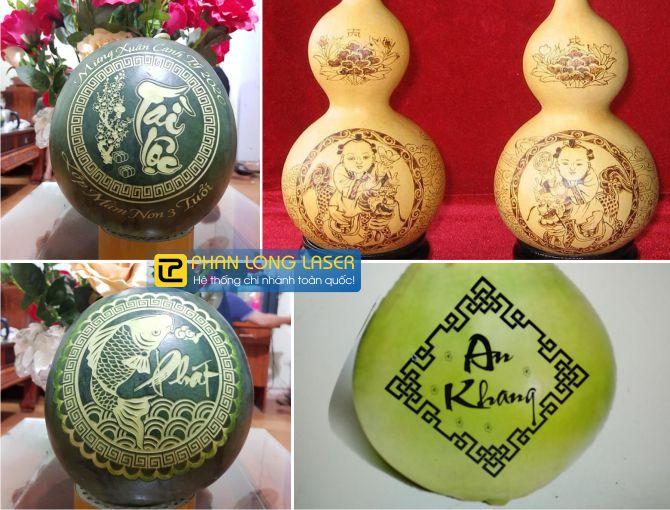 Xưởng khắc logo hoa văn, khắc thư pháp trên trái cây hoa quả