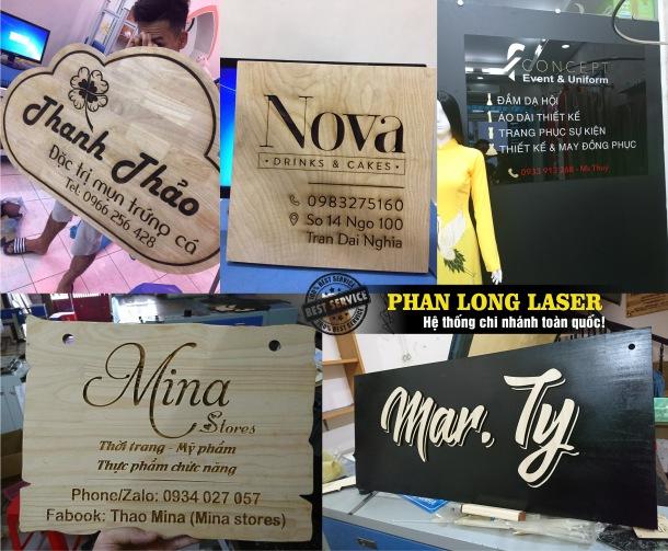 Biển số nhà kết hợp với bảng hiệu quảng cáo bằng gỗ đẹp mắt và giá rẻ được làm tại Phan Long Laser