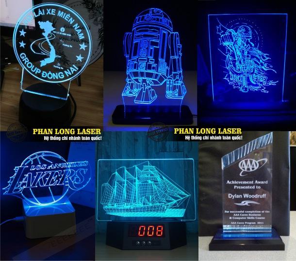 Làm cúp nhựa acrylic, làm kỷ niệm chương, làm bảng vinh danh acrylic chiếu đèn led 7 màu giá rẻ