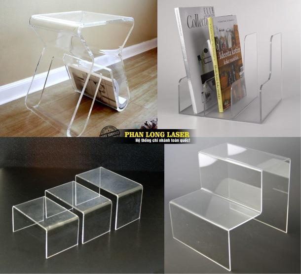 Địa chỉ thiết kế nhận làm theo yêu cầu các sản phẩm kệ sách, kệ tài liệu, kệ trưng bày sản phẩm bằng mica và nhựa acrylic giá rẻ