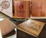 Công ty nhận sản xuất làm sổ gỗ khắc tên, sách gỗ khắc laser