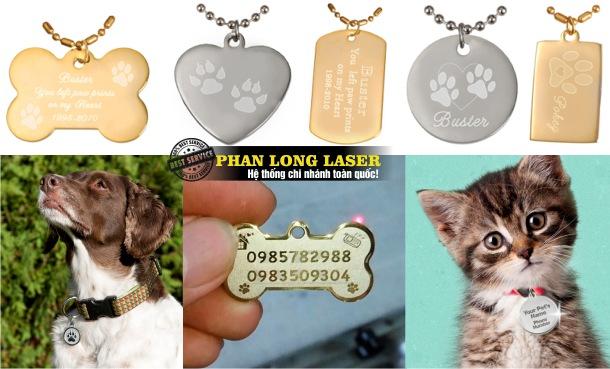 Làm thẻ tên vòng cổ khắc laser, khắc tên cho thú cưng, chó mèo, cún yêu, mèo yêu giá rẻ