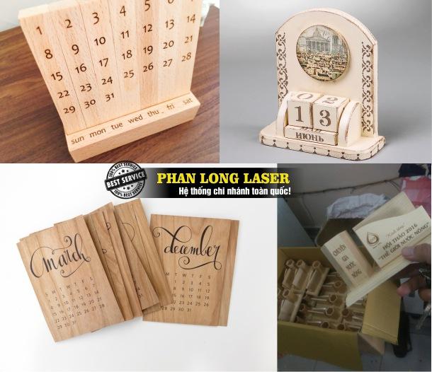 Địa chỉ gia công sản xuất thiết kế và làm các sản phẩm lịch gỗ để bàn khắc laser theo yêu cầu giá rẻ