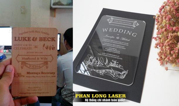 Địa chỉ Sản Xuất thiệp cưới, thiệp mời, thiệp mừng bằng mica và bằng gỗ giá rẻ