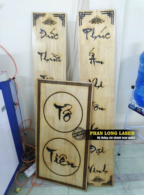 Địa chỉ xưởng gia công khắc laser theo yêu cầu lên hoành phi câu đối, bài vị bằng gỗ, bằng mica, bằng đá giá rẻ