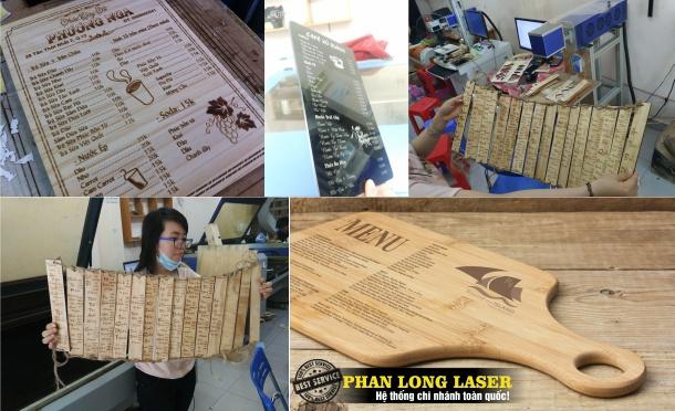 Làm menu bằng gỗ và mica theo yêu cầu ở Đà Nẵng