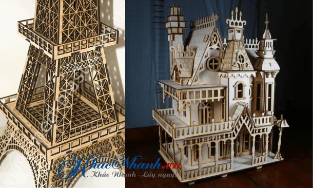 Cắt laser mô hình tòa nhà và tháp Eiffel ở Cầu Giấy Hà Nội