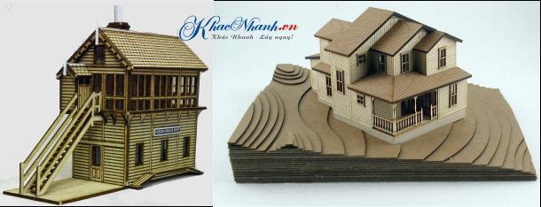 Cắt laser tạo hình mô hình ngôi nhà