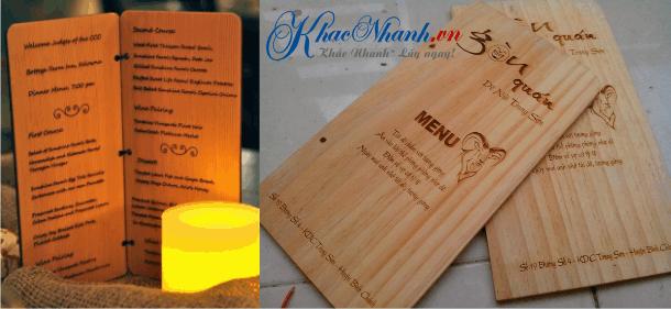 Sản xuất menu gỗ cho quán ăn, quán cafe, nhà hàng, quán giải khát tại Cầu Giấy Hà Nội