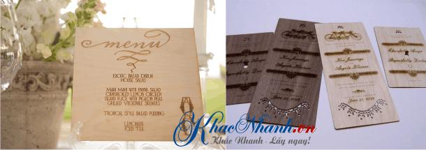 Nhận in menu gỗ cho nhà hàng, quán ăn, quán cafe Thanh Xuân, Hà Đông, Hà Nội