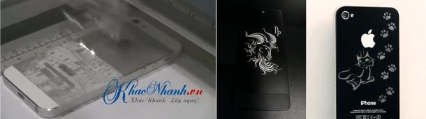 Khắc hình khắc chữ khắc logo lên vỏ điện thoại bằng laser tại TPHCM