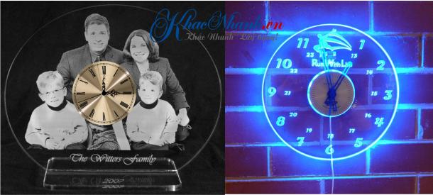 Xưởng khắc laser hình ảnh logo lên đồng hồ Mica tại Hà Nội