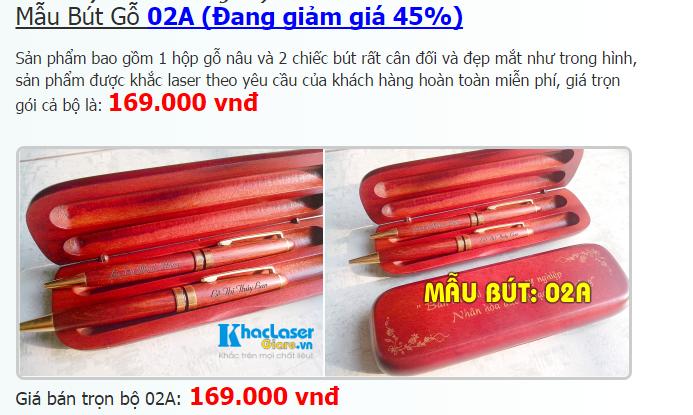 Mấu bút gỗ khắc tên giá rẻ 02A